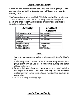 Elapsed Time Party Planning Activity- 3rd Grade (leveled tasks)