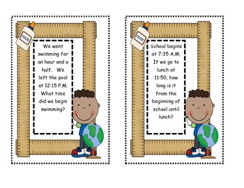 Elapsed Time Problem Solving Task Cards with Clock Manipulatives