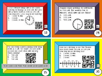 Elapsed Time QR Codes Differentiated Task Cd Bundle-Common Core 3.MD.A1,4.MD.A.2