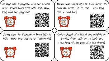 Elapsed Time QR Task Cards and Board Game