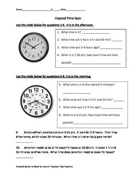 Elapsed Time Quiz for Upper Elementary