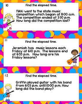 Elapsed Time Rock Around the Clock Task Cards