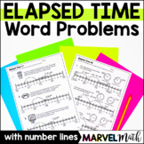 Elapsed Time Ruler A.K.A. Elapsed Time Number Line with Problems by Marvel Math