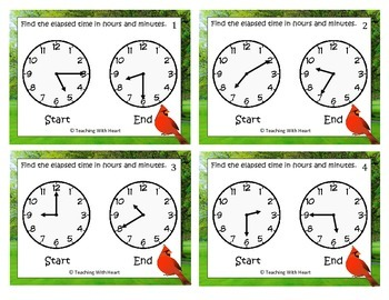 Elapsed Time Scoot Activity/Task Cards (Hours and Minutes)