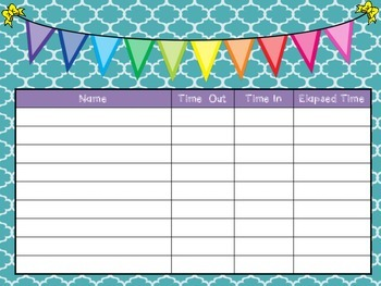 elapsed time sign out sheet by carolyn cornelison i love to learn