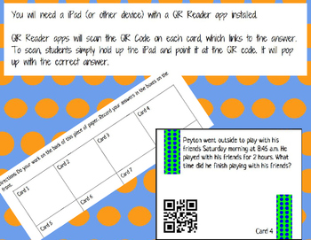 Elapsed Time Story Problem QR Code Task Cards SOL 3.11b Self- Checking Station
