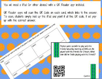 Elapsed Time Story Problem QR Code Task Cards SOL 3.11b Se