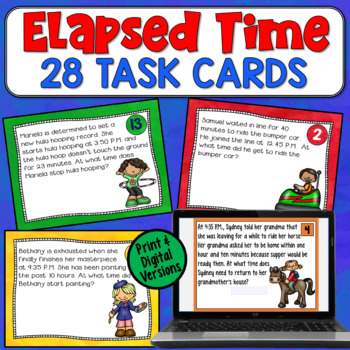 Elapsed Time Task Cards: 28 Word Problems