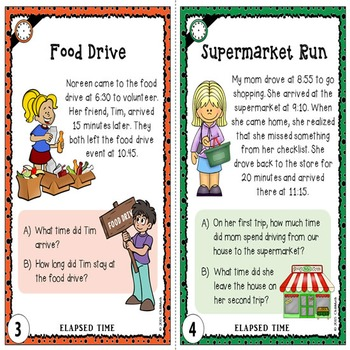 Elapsed Time Task Cards {To the Hour, Quarter Hour, and within 5-10 Minutes}