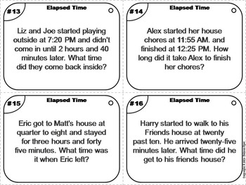 elapsed time task cards elapsed time word problems task cards 3rd 4th 5th grade. Black Bedroom Furniture Sets. Home Design Ideas