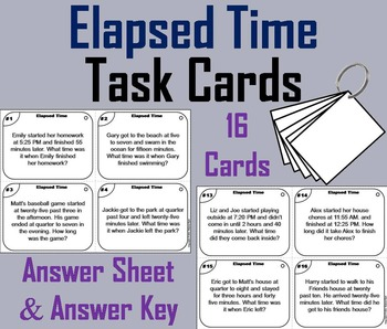 Elapsed Time Task Cards/ Elapsed Time Word Problems Task C