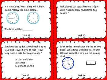 Elapsed Time Task Cards- 2nd and 3rd Grade