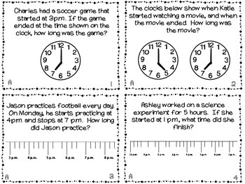Elapsed Time Task Cards: 3 sets in one; Black/ white printer friendly