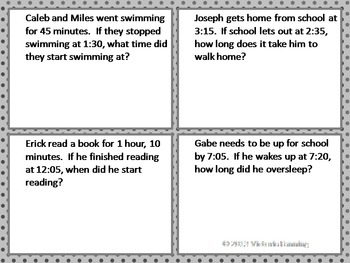 Elapsed Time Task Cards: 3.MD.1, 4.MD.2