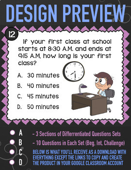 ELAPSED TIME Word Problems | Self-Grading Google Classroom Task Cards | 3.MD.1