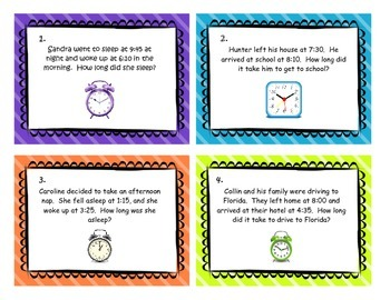 Elapsed Time Task Cards 4.MD.2   3.MD.1