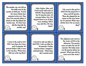 Elapsed Time Task Cards- Challenge