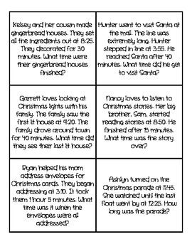 Elapsed Time Task Cards (Christmas Themed)