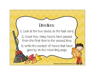 Elapsed Time Task Cards - Fall Themed