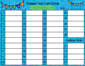 Elapsed Time Task Cards - Find Elapsed Time