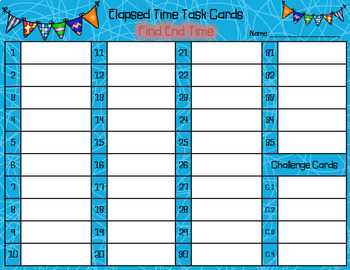 Elapsed Time Task Cards - Find End Time