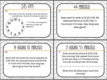 Elapsed Time Task Cards- GRADE 3 & 4