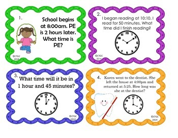 Elapsed Time Task Cards, Math Center, or Scoot Game - 3rd or 4th Grade