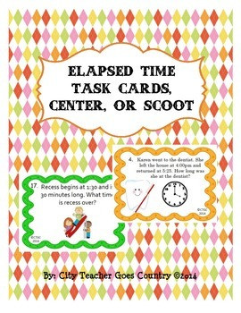 Elapsed Time Task Cards, Math Center, or Scoot Game - 3rd