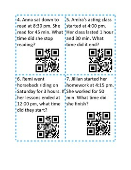 Elapsed Time Task Cards QR Activity