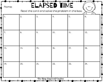 Elapsed Time Task Cards - Third Grade