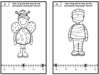 Elapsed Time Task Cards-Trick or Treat/Storybook Character Party
