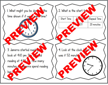 Elapsed Time Task Cards - Within 60 Minutes