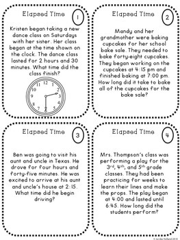 Elapsed Time Task Cards and Elapsed Time Quiz