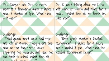 Elapsed Time Task Cards (whole hours only)
