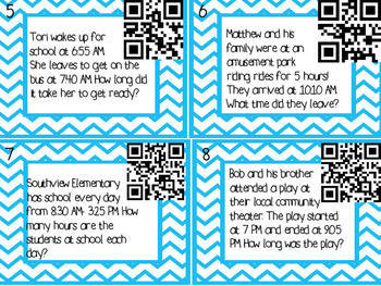 Elapsed Time Task Cards with QR Codes