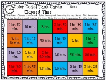 Elapsed Time Task Cards with a Twist Color Coding...NEAT!