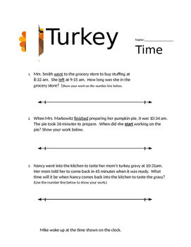 3rd grade Elapsed Time Thanksgiving Theme MD.1.1 MD.a.1