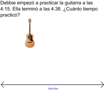 Elapsed Time / Time Interval Word Problems (SPANISH)