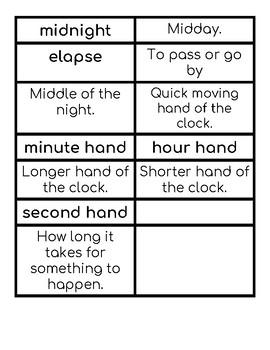 Elapsed Time Vocab Match