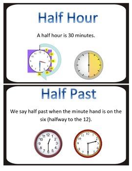 Elapsed Time Vocabulary Cards