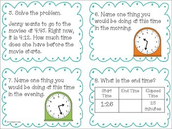 Elapsed Time Within the Hour Task Cards