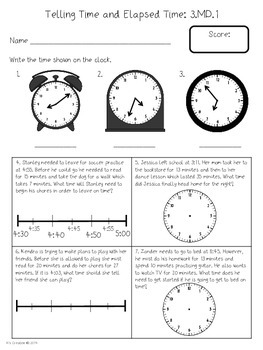 Elapsed Time Within the Hour Test - 3.MD.1 (North Carolina)