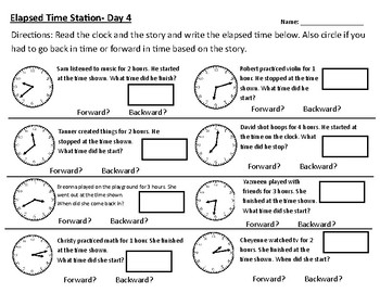 Elapsed Time Word Problem Practice