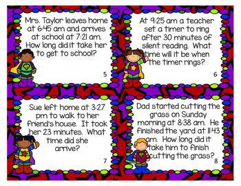 Elapsed Time Word Problem Scoot Task Cards