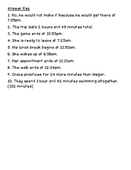 Elapsed Time Word Problem Task Cards 3.MD.1