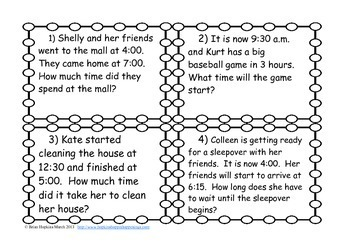 Elapsed Time Word Problem Task Cards (3.MD.1)