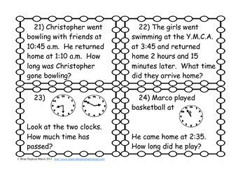 elapsed time word problem task cards 3 md 1 by brian hopkins tpt. Black Bedroom Furniture Sets. Home Design Ideas