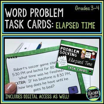 Elapsed Time Word Problem Task Cards: Grade 3-4