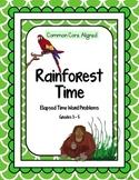 Elapsed Time Word Problem Task Cards: Rainforest Theme