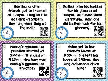 Elapsed Time Word Problem Task Cards - Set of 32 Common Core Aligned 3.MD.A.1